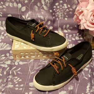 SPERRY TOPSIDER BLACK LEATHER CREST SIDE SNEAKERS